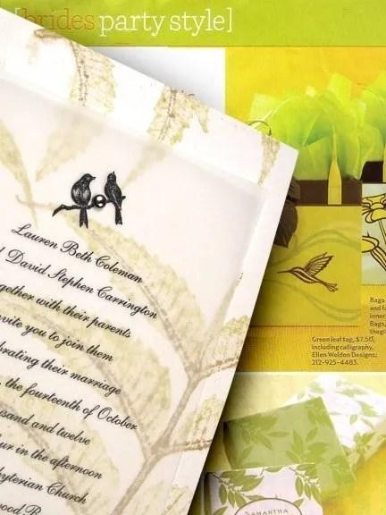 Handmade Wedding Invitations with Leaf Imprint