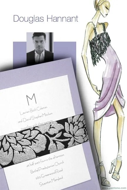 Luxe DIY Lavender Wedding Invitations with Black Floral Wrap