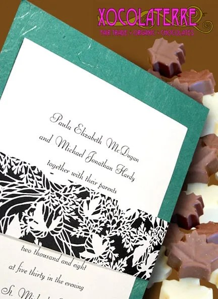 Handmade Teal Wedding Invitations with Floral Wrap