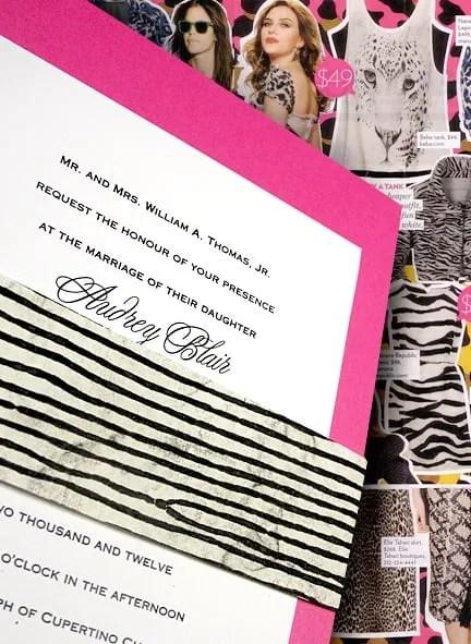 Hot Pink Wedding Invitation with Zebra Inspired Wrap