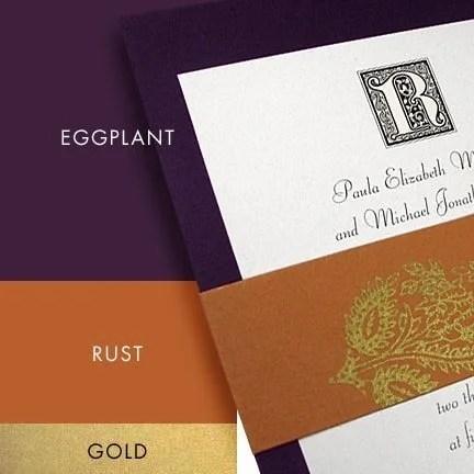 DIY Purple and Rust Wedding Invitations