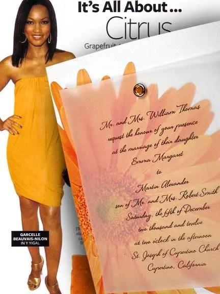 Orange Gerbera Wedding Invitation with Crystal Brad