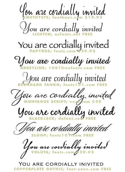 Wedding Invitation Typeface and Font Sources