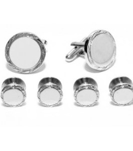 Accessories   Formal Dimensions Engraveable Silver Cufflink and Stud Set