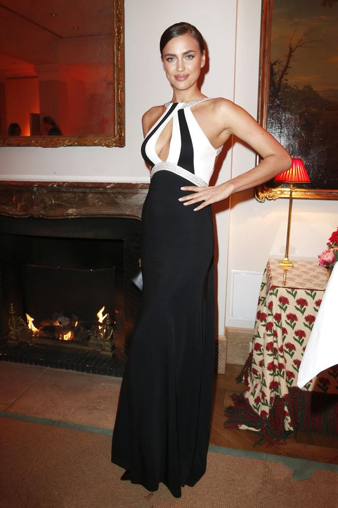 Irina Shayk's hollow out color block evening dress