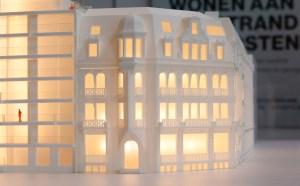 Maquette Troon17 3d-printed Oostende detail verlicht