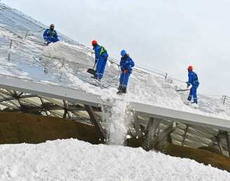 Electrically heated glaying roof snow melting
