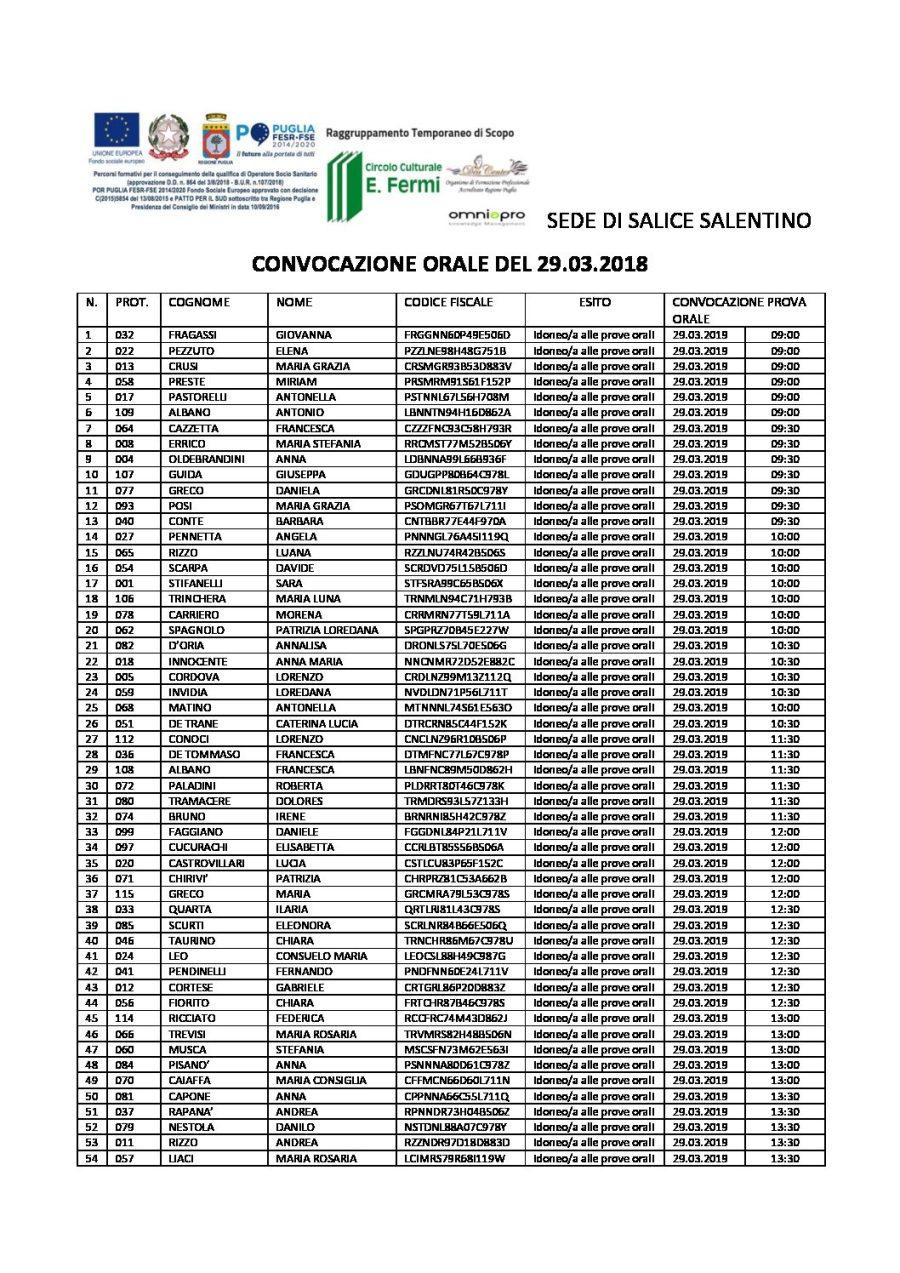 OSS – convocazione orale del 29.03.2019 senza punteggio – SALICE SALENTINO