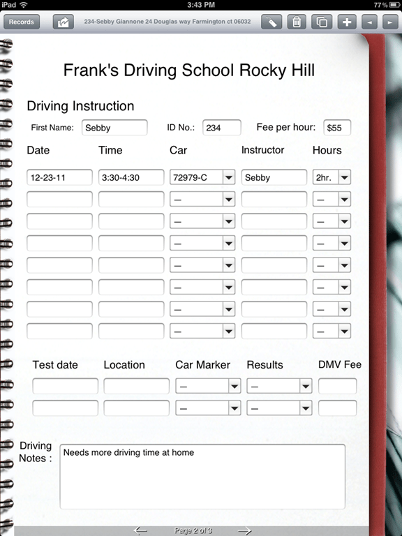 Driving School Uses FormConnect To Manage Students Form