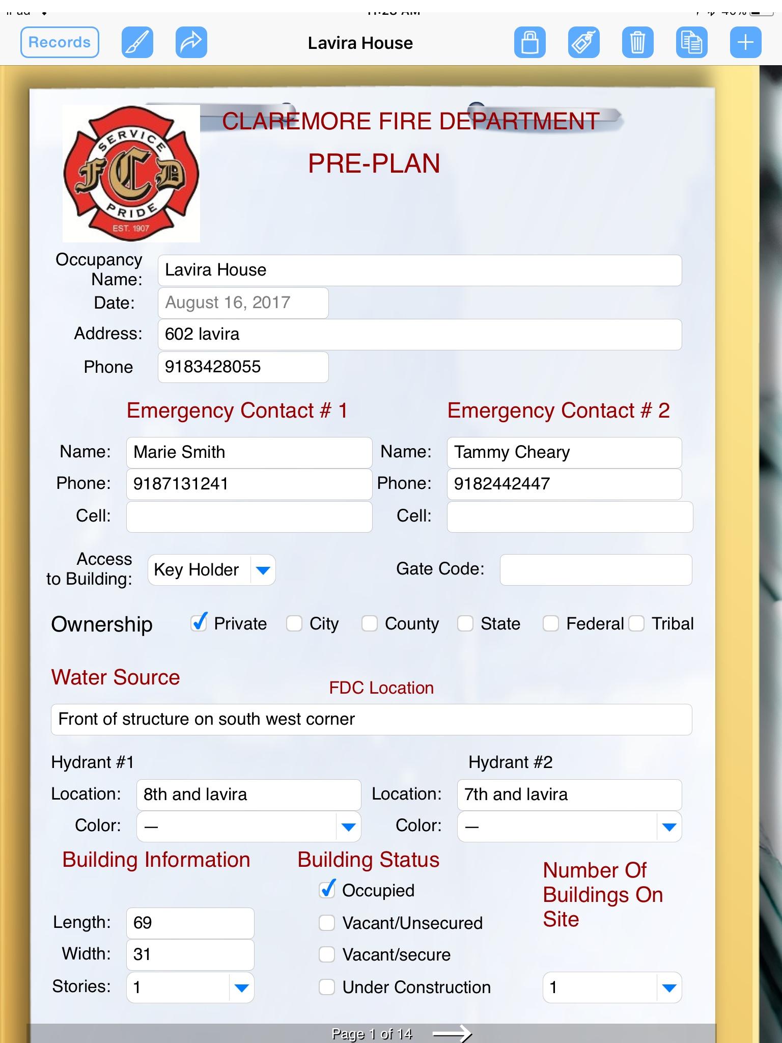 Template Incident Pre Fire Plan