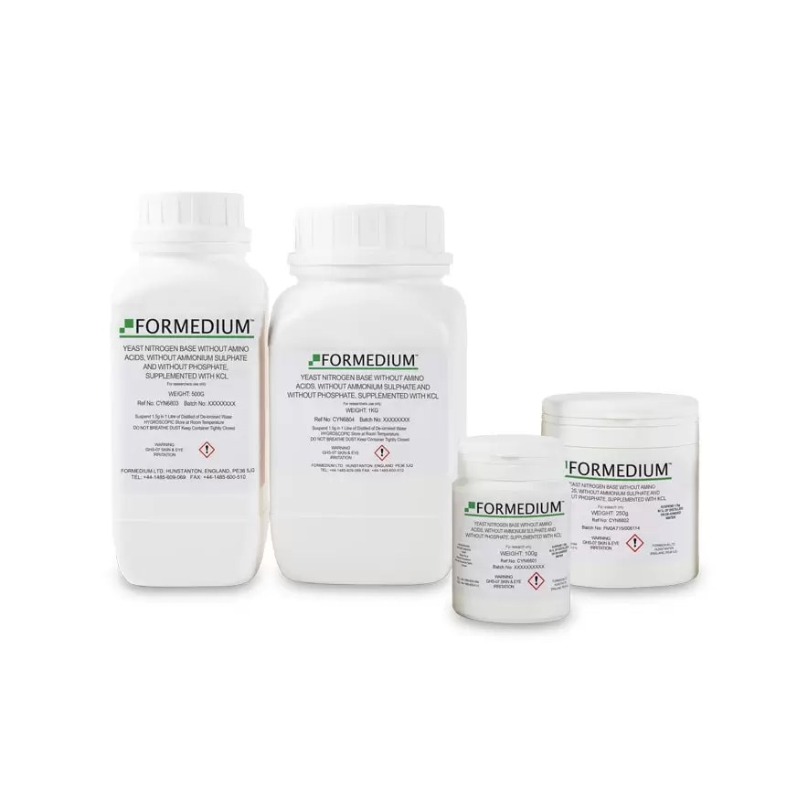 Yeast Nitrogen Base without Amino Acids, without Ammonium sulphate and without Phosphate, supplemented with KCl