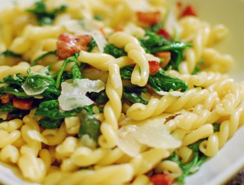 Pasta with Pancetta and Arugula