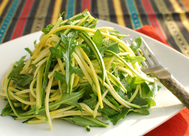 Zucchini salad with lemon anchovy dressing