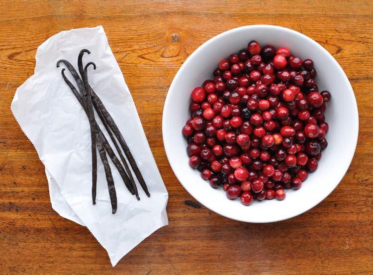 Vanilla Beans and fresh cranberries