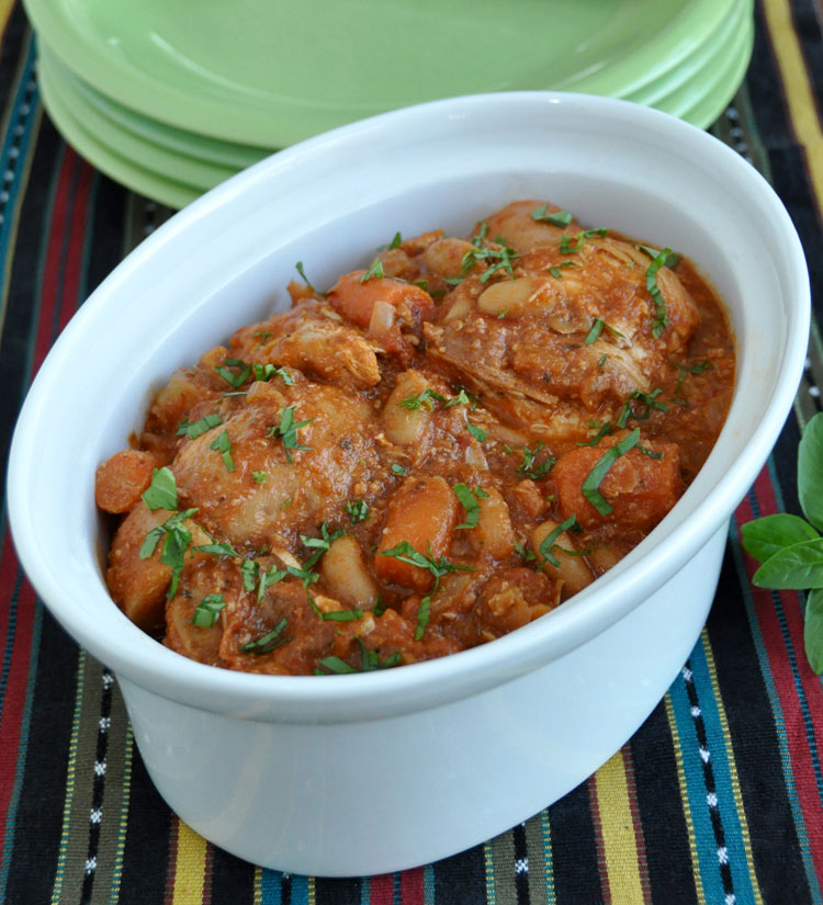 Slow cooked chicken with fennel and beans