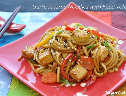 Garlic sesame udon noodles with fried tofu