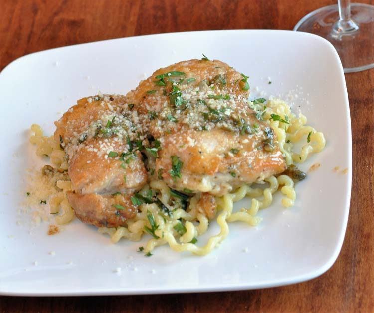 Blue Apron Chicken Thighs with lemon picatta buccatini