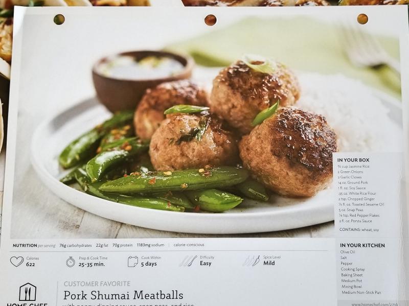 Home Chef Recipe, Pork Shumai Meatballs