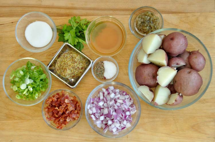 Ingredients for German Potato Salad with Bacon and Mustard Vinaigrette