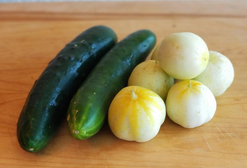 Green and Lemon Cucumbers Whole