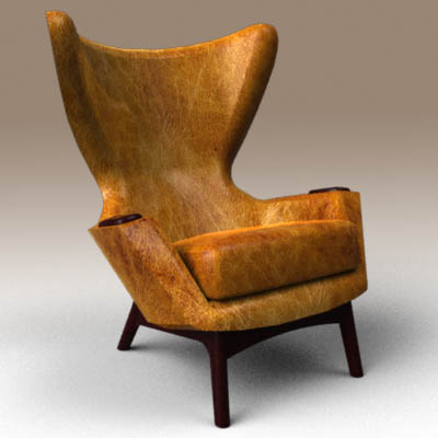 Cowhide Wing Chair 3D Model FormFonts 3D Models Amp Textures