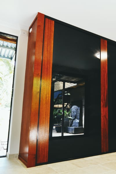 Timber Wardrobe with Black Glass Panels