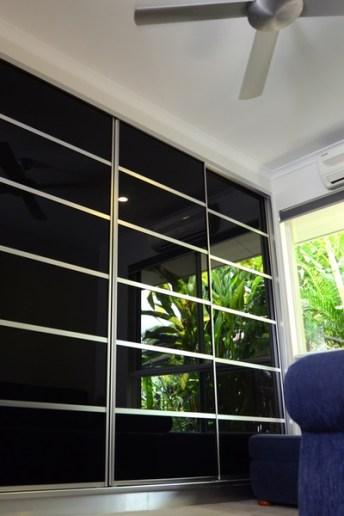 Multi Panel Black Glass Built In Wardrobe Doors