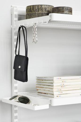 Wardrobe Storage: elfa clip in hooks and bucket shelves