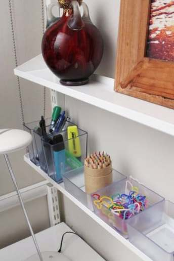 home office nook with bucket shelves