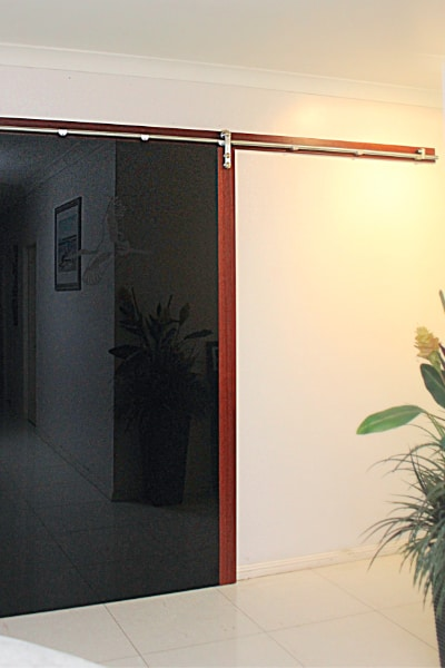 Wide Barn Door with jabiru image on black glass