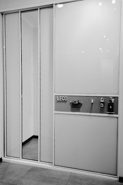 Lego Sliding Door full view showroom Black & White