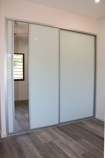 White Glass Sliding Doors with silver mist plank floor boards
