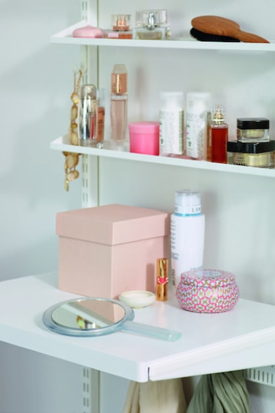 Wardrobe Inserts: elfa decor accessories for make up and perfume