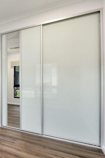 White Glass Sliding Doors with Mirror Andrew Harve Builders