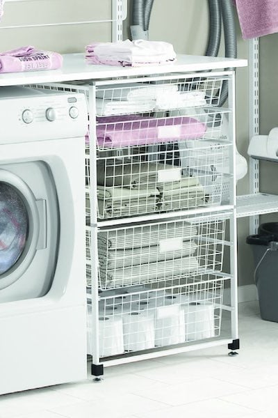 laundry shelving above and to the side of washing machine