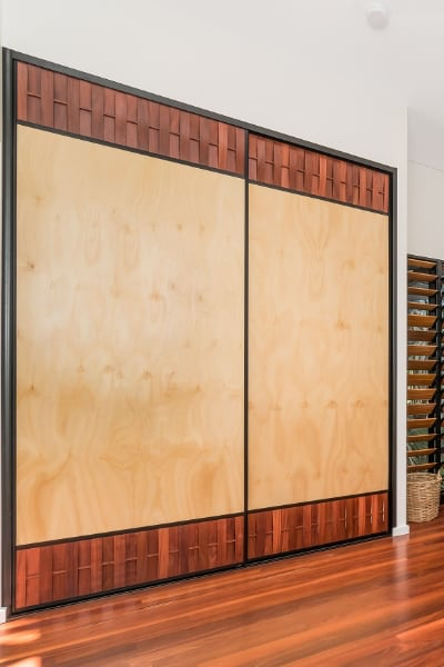 Internal Sliding Doors with Hoop Pine and jarrah louvres
