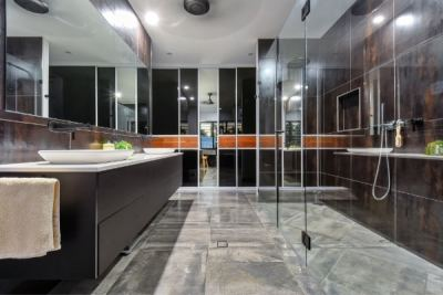 Ensuite Bathroom Sliding Doors Black Glass and Timber Doors
