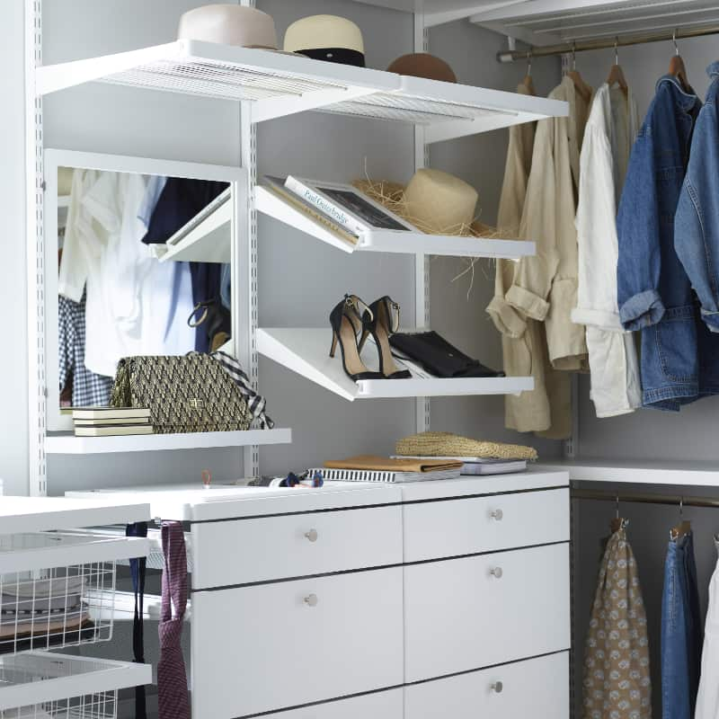 elfa walk in wardrobe, shoe racks, pullout shelves, clip in mirror and small functional shelf