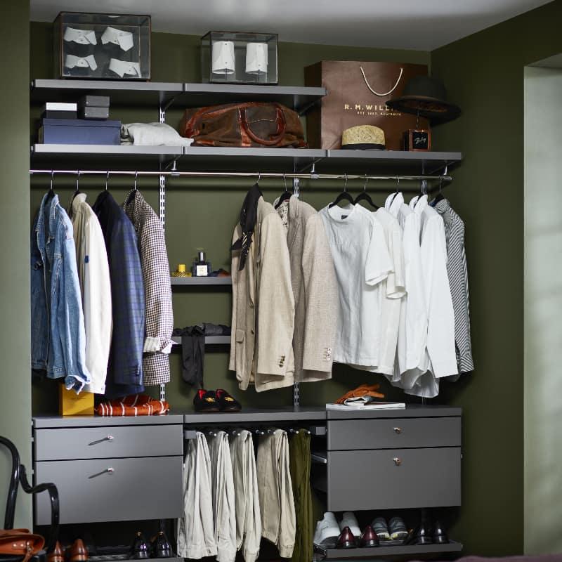 elfa decor grey closet interior. Pullout Drawers & Shoe Racks