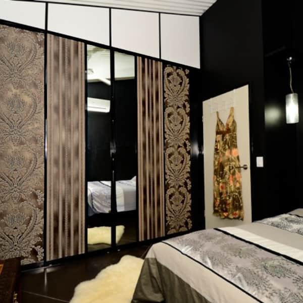 Bedroom Wardrobes with Wallpaper
