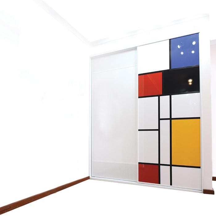 Mondrian Inspired Sliding Cupboard Door