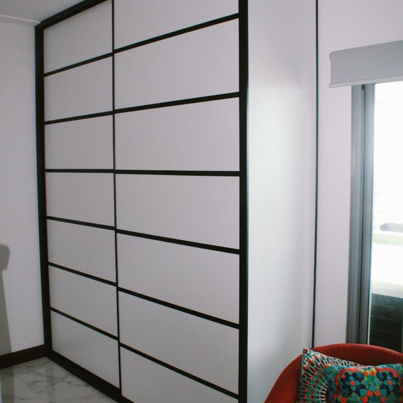 Shoji Inspired White Cupboard Doors with Black Frames