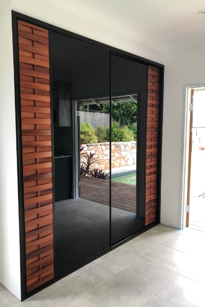 Louvre Timber & Black Glass Built In Cupboards