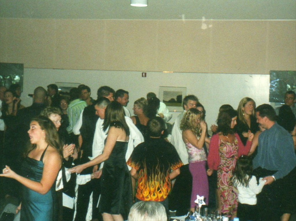 Packed wedding dance floor