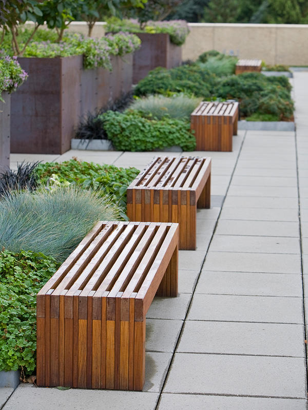 Hudson Benches Shown In 6 Foot Freestanding Configuration