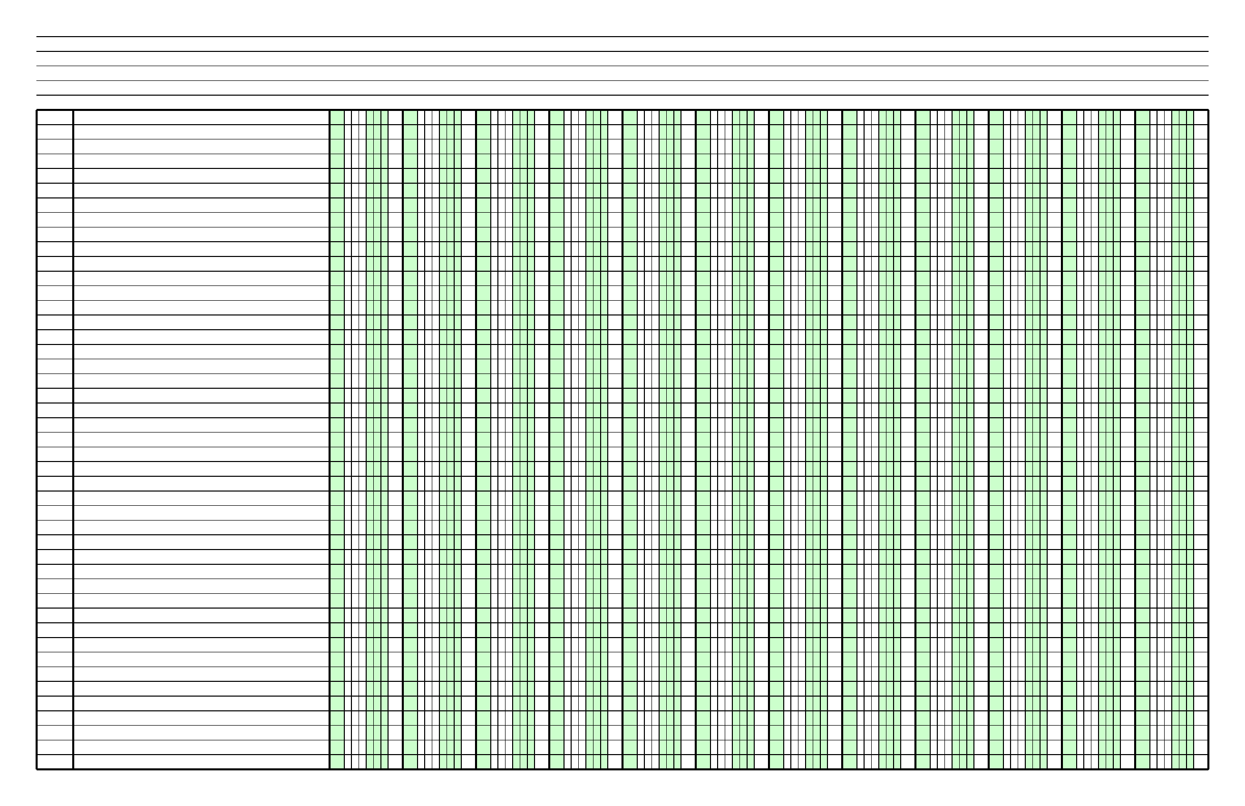 Columnar Paper With Twelve Columns On Ledger Sized Paper