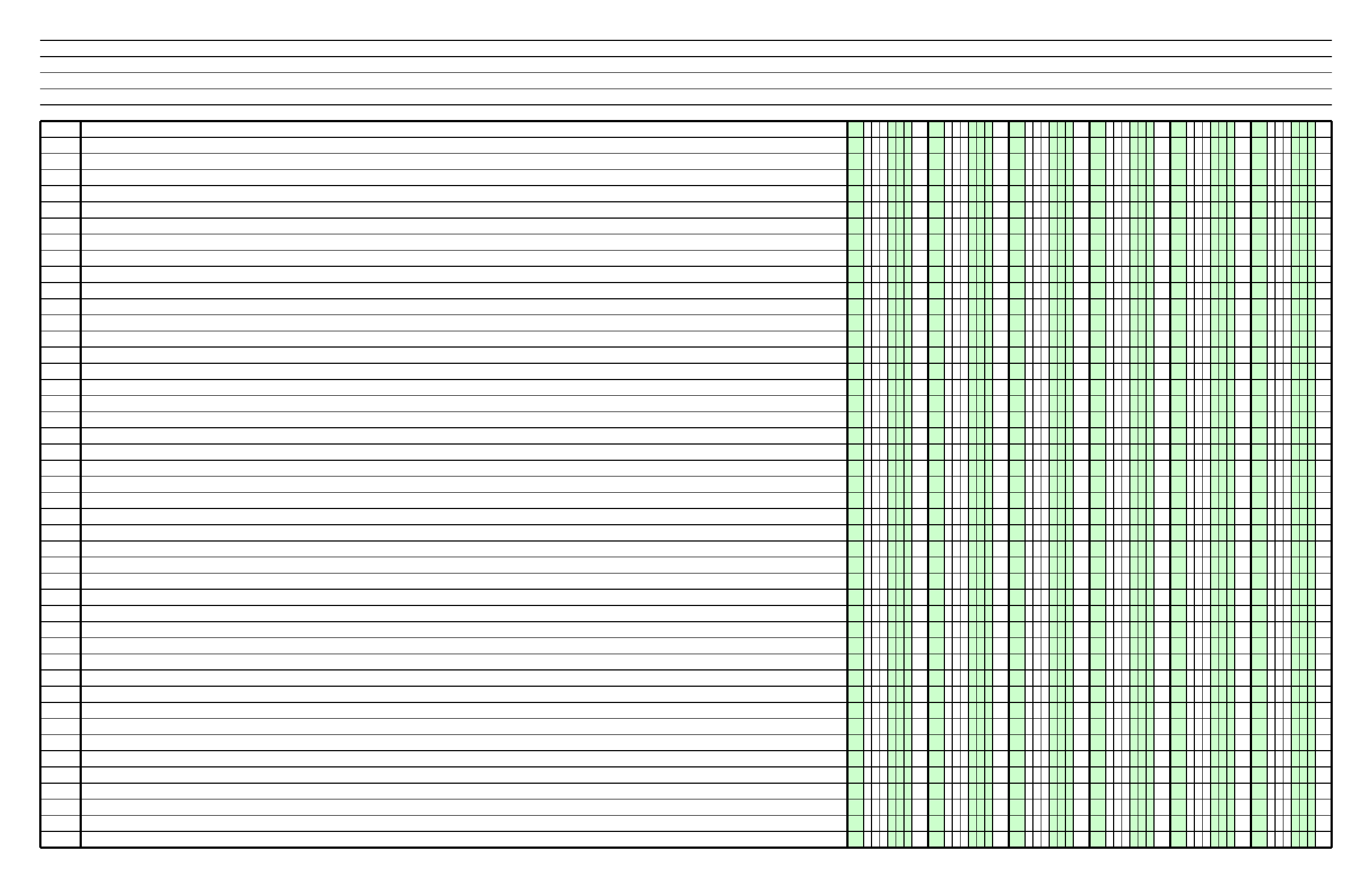 Columnar Paper With Six Columns On Ledger Sized Paper In