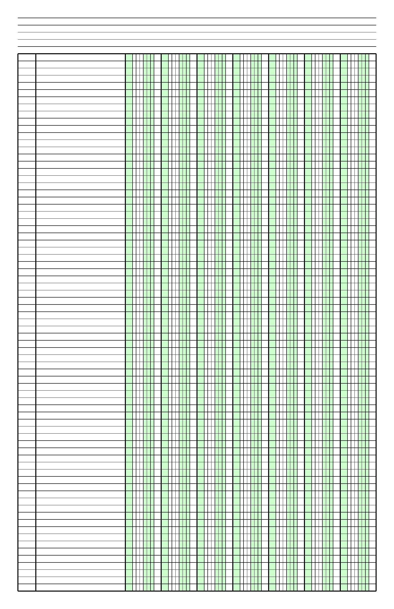 Columnar Paper With Seven Columns On Ledger Sized Paper In