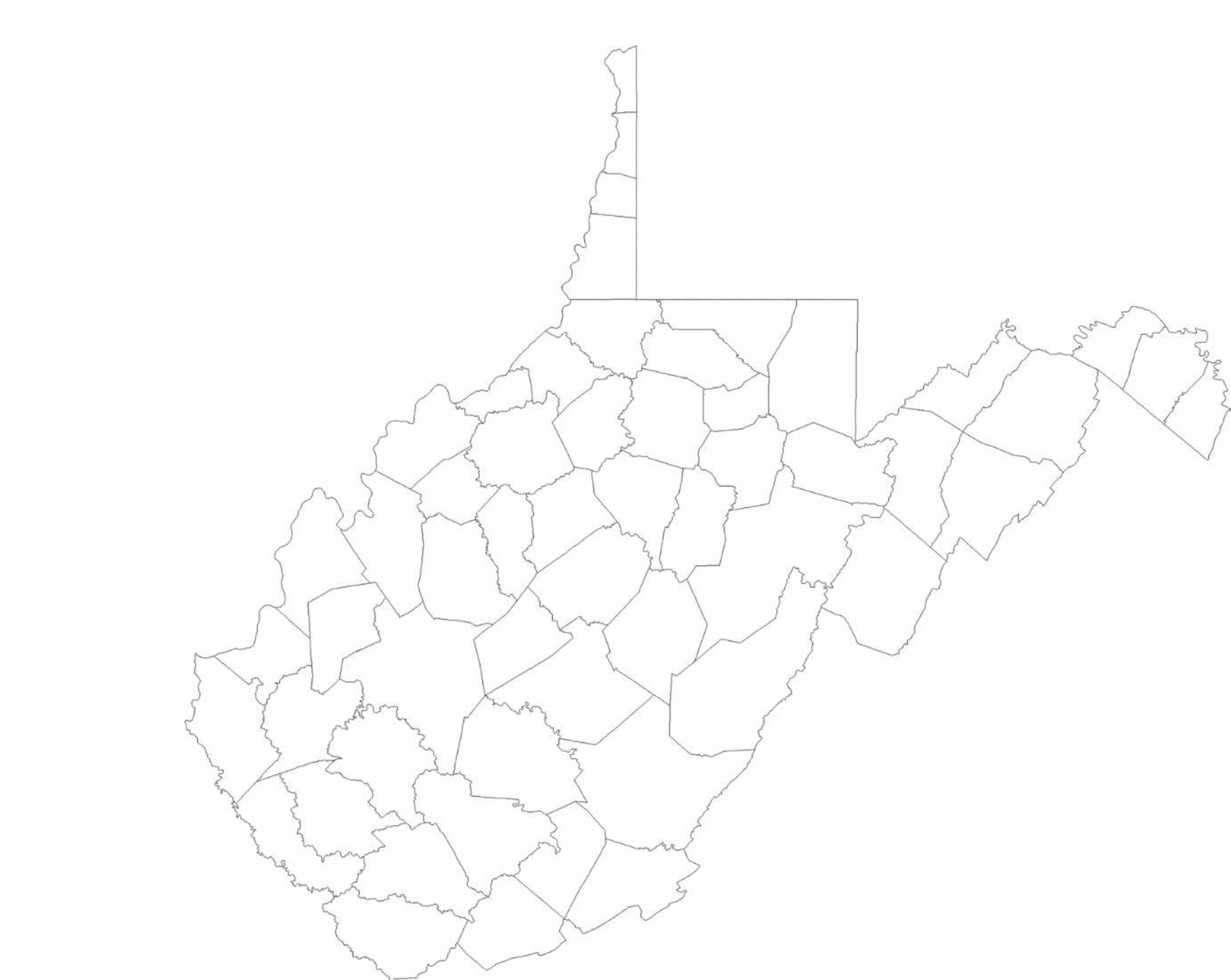 Blank Virginia County Map Free Download