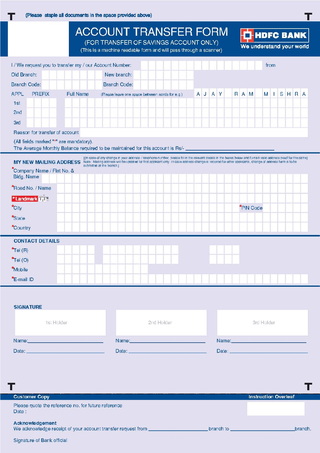 Bank Account Transfer Form HDFC BANK Free Download